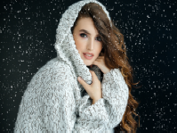 Woman in cozy sweater