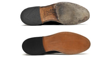 Men's Dress shoe new heel and sole before and after