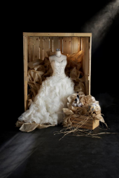 Wedding dress in a crate