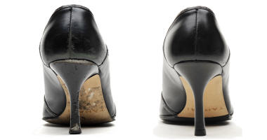 Women's dress shoe before and after repair